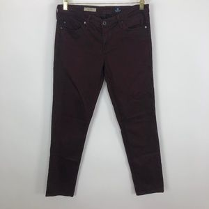 AG Stilt Cigarette Leg Pants Maroon 28 R (Act 31W)
